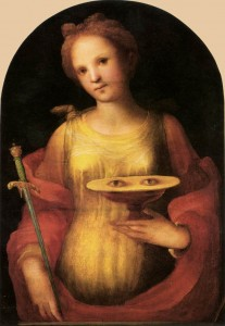 Saint Lucy. Stabbed in the neck. Eyes gouged.