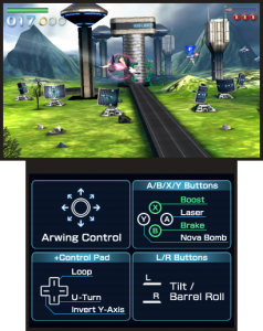 A screenshot of Star Fox 64 3D.