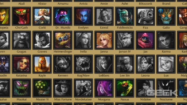 Just some of the over 90 champions available in the game.